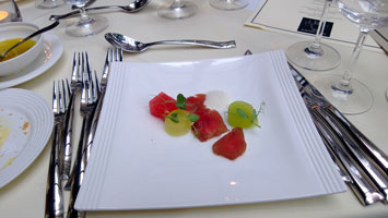 Tuna bresaola, compressed melon, white pepper emulsion